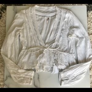 Free People White Cropped Blouse